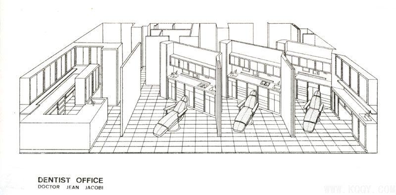三个椅位的口腔诊所平面及三维设计图