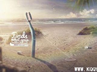 牙刷创意广告——沙滩